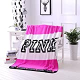 Ohohe2525 Kintted Blankets for Beds Pink Blanket Manta Throw Coral Fleece Blanket Sofa/Plane Travel Plaids Bedding (130x160, Pink)