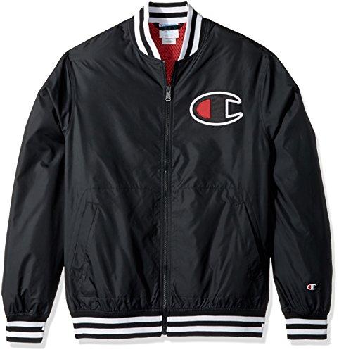 Champion LIFE Men's Satin Baseball Jacket, Black, X Small