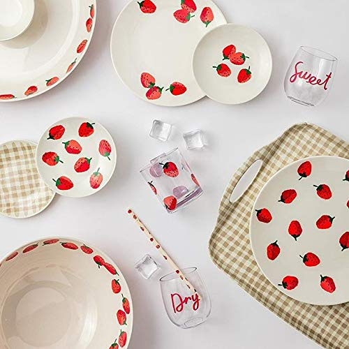 Kate Spade New York Women's Strawberries Chip and Dip Bowl, Red/Green/White, One Size by Kate Spade New York (Image #1)