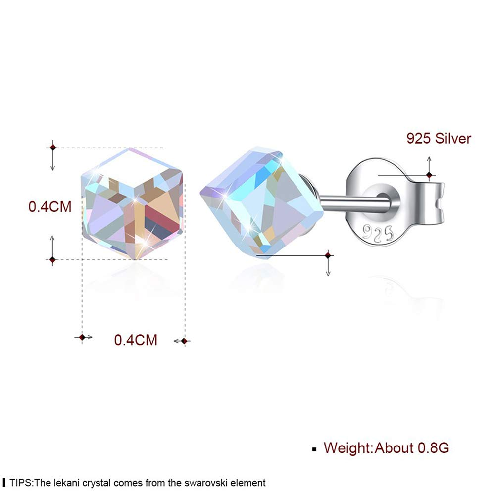 S925 Sterling Silver Square Colorful Crystal Stud Earrings for Women,Girls