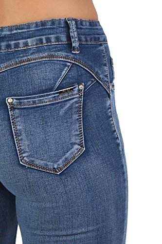 Unita Aderenti In Jeans Denim Blu Tinta Elasticizzati 8ZxaX