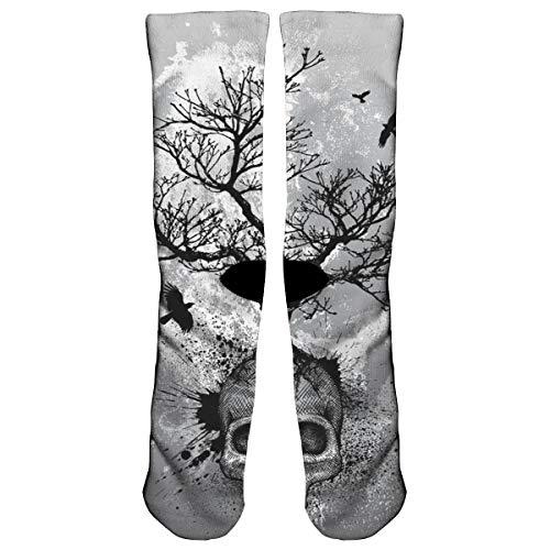 NismdyKsu Creative Skull Tree Black Eagle Compression Socks Crew Socks Women & Men - Best Running, Athletic,Nurses,Flight,Travel- Boost Stamina, Circulation & Recovery ()