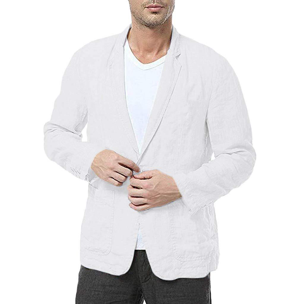 Dermanony Men's Slim Fit Suit Coat Linen Blend Lightweight Solid Color Long Sleeve Suits Blazer Jacket Pocket Outwear by Dermanony _Coat