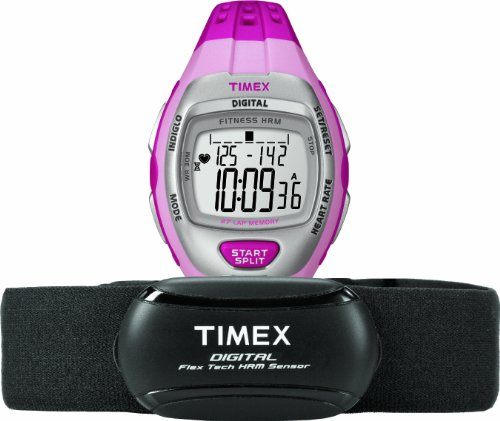 Timex Women's T5K734 Zone Trainer Digital HRM Flex Tech Chest Strap & Mid-Size Pink/Silver-Tone Watch (Timex Zone Trainer)