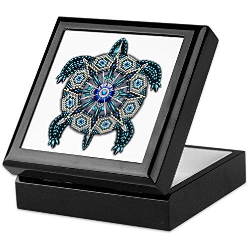 Box Tile Turtle - CafePress - Native American Turtle 01 - Keepsake Box, Finished Hardwood Jewelry Box, Velvet Lined Memento Box