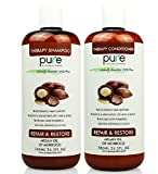 #8: PURE Organic Moroccan Argan Oil Shampoo & Conditioner Set, 26.5 oz. – Extra Strength Formula with Keratin & Dead Sea Minerals. Restores Shine, Moisturizes Dry & Damaged Hair, Enhances All Hair Types