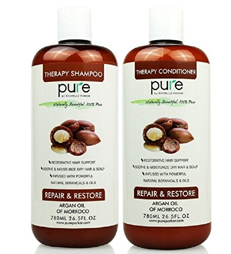 PURE Argan Oil Shampoo & Conditioner Set, HUGE 26.5 oz. Each – Extra Strength Formula with Keratin & Dead Sea Minerals. Restores Shine, Moisturizes Dry & Damaged Hair, Enhances All Hair Types
