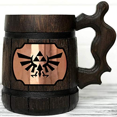 Legend Of Zelda Mug. Zelda Wooden Mug Gift. Zelda Stein. Zelda Ornament Triforce Gamer Mug. Beer Steins. Wooden Beer Tankard. Gifts for Gamer K100