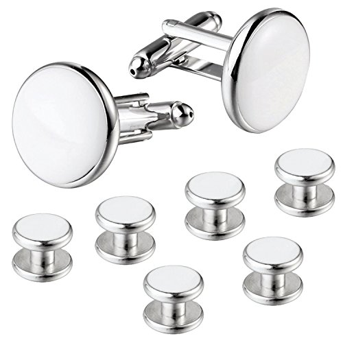 EVEVIC 8PCS Cufflinks and Studs Set for Tuxedo Shirt Cuff Links Formal Business Wedding (White-Silvertone)