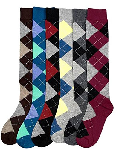 Mamia 6 Pairs Women's Fancy Design Multi Color Knee High Socks (Argyle 01, Size 9-11)