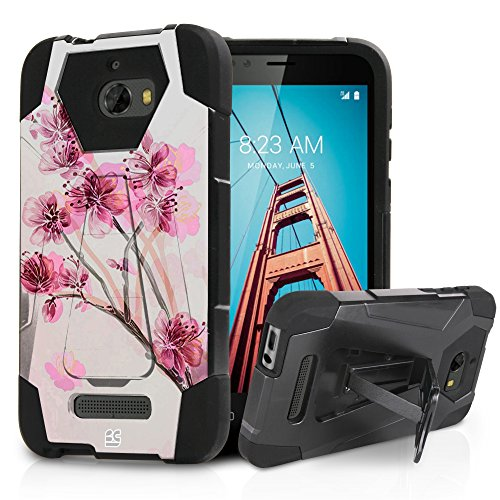 for Coolpad Defiant Case, Dual Layer Hard Shell Soft Silicone Interior Hybrid Shock Absorption Rugged Phone Cover with Built in Kickstand for Coolpad 3632A Cherry Blossom