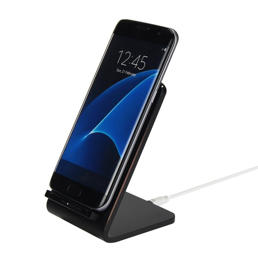 Hot Sale! Sunfei 3-Coils Qi Fast Wireless Charger Charging Stand Dock for Samsung Galaxy S8 (Black)