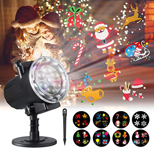 Halloween Christmas Projector Lights,Oittm 12 Slide Patterns High Brightness LED Landscape Lights Waterproof Outdoor Indoor Decoration Lighting for Xmas Theme Party Wedding Thanksgiving Birthday -