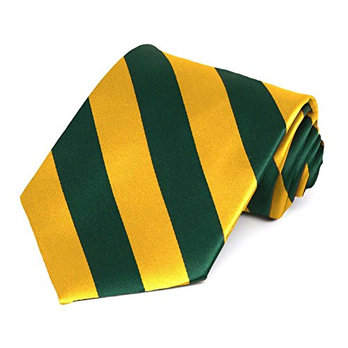 Green Striped Bay Tie Packers - Hunter Green and Golden Yellow Striped Tie