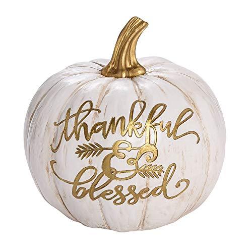 Transpac Imports, Inc. Thankful Blessed Pumpkin Gold Tone On White 6 x 6 Resin Stone Harvest Figurine