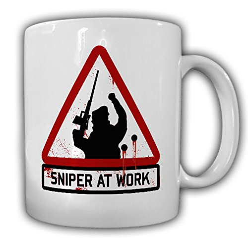 Sniper at work sharpshooter Sniper Shooting Friend Warning Sign Military Army Fun - Coffee Cup - Shooters Sniper