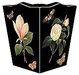 WB1-Black-Floral 1 Wastepaper Basket Wood