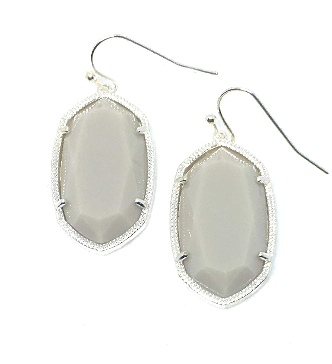 Silver Metal Tone Inspired Fashion Jewelry Candy Colors Oval Earrings in Silver and Gold Metal Tone in Grey