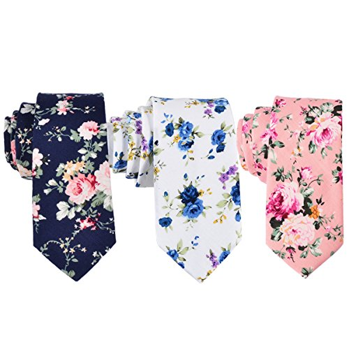 Printed Mens Tie (EasyJoy Skinny Ties Men's Cotton Printed Floral Necktie (color 1))