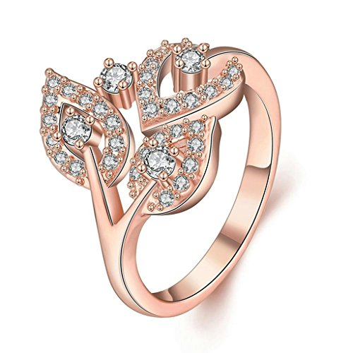Bishilin Women's Jewelry 18K Rose Gold Plated Romantic Rings For Girls Plant White Rose Gold CZ Size 8
