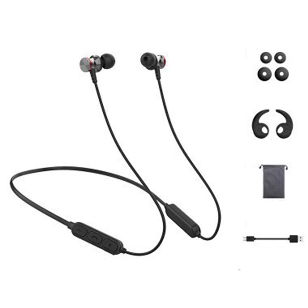 zhuygba Magnetic Adsorption Bluetooth Headphones Earbuds in-Ear Sweatproof Earphones for Mens Sports Headsets Lightweight Portable Gym