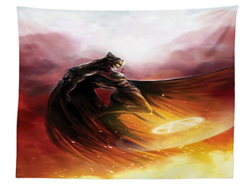 Heroes Costume For Rent (vipsung Fantasy World Decor Tablecloth Superhero in His Original Costume Flying Up to Magic Flame Save the World Theme Rectangular Table Cover for Dining Room Kitchen Yellow Red)