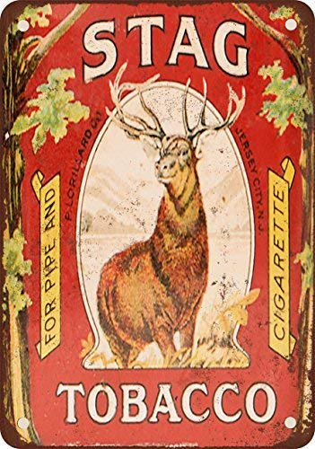 - GMNJH Stag Pipe and Cigarette Tobacco Vintage Look Reproduction Metal Tin Sign 8X12 Inches