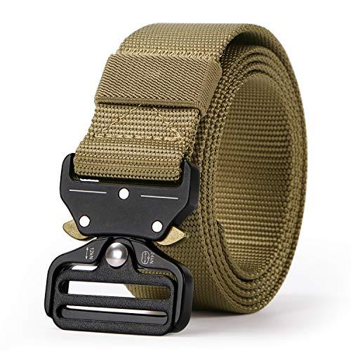 WERFORU Tactical Belt, Heavy-Duty Webbing Riggers Quick-Release Web Belt Military Style Metal - Webbing Coyote Nylon