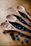 Talisman Designs  Beechwood Salad Serving Set, Nature Design , Laser Etched Fork and Spoon, 12-inches Long