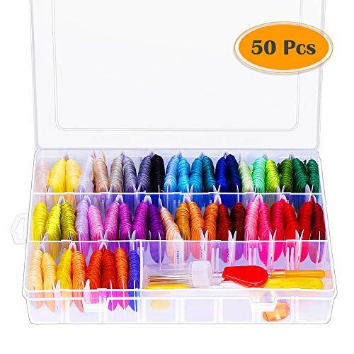 - Paxcoo 88 Pcs Cross Stitch Supplies Kits with Organizer Box Including 50 Colors Embroidery Floss and 38 Pcs Embroidery Kit for Friendship Bracelet String Making