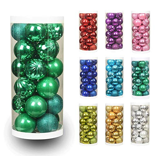 """ChristmasExp 24ct 60mm/2.36"""" Christmas Ball Shatterproof Christmas Tree Balls Ornament Set Decorations for Holiday Xmas Party Decoration Tree Ornaments(2.36, Peacock Green)"""