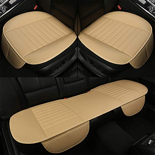 D-Lumina Breathable PU Leather Bottom Car Seat Covers Cushion, Front and Rear/Back Row Bench Pads Mats for Vehicle Interior Chair Protector, Universal for Four Season, Beige (Tan), - Van Lumina