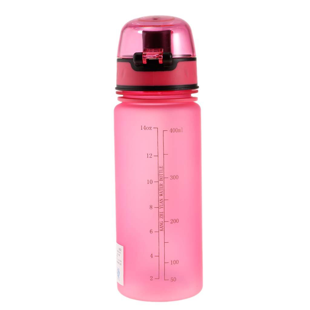 perfk Botellas de Agua de Plástico 400ml Deportes para Niños Estudiantes de Verano Envase - Rosa: Amazon.es: Deportes y aire libre