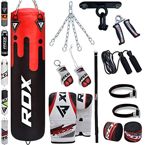 (RDX Punching Bag Filled Set Kick Boxing MMA Heavy Training Gloves Punching Mitts Hanging Chain Ceiling Hook Anchor Rope Muay Thai 13PC Martial Arts 4FT)