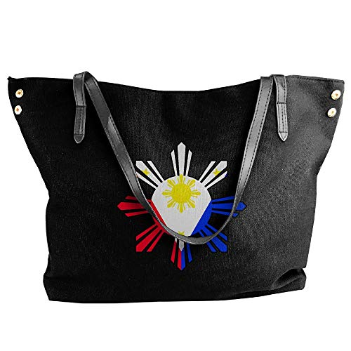 Sun Philippine Handbag Tote Women's Flag Bag Hand Canvas Large Shoulder Black 6fxYwXAqF