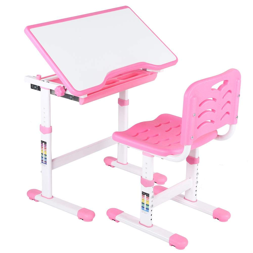 Ejoyous 4-in-1 Kids Study Desk and Chair Sets, Luxurious Ergonomic Height Adjustable Children's Study Table and Chair Set with Drawer for Students Boys Girls (Pink)
