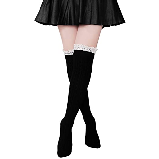 bccbda7ccbe Ordenado Women s Thigh High Socks Valentine s Winter Cable Knit Lace Over  Knee Socks
