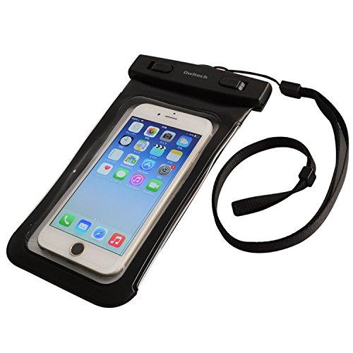 無力くつろぎアーティストオウルテック iPhone 7/7Plusホームボタン対応 防水?防塵ケース ドライバッグ 両面透明 海/釣り/お風呂 最高級保護レベルIP68取得 ネックストラップ ブラック