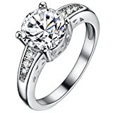 FENDINA Womens Silver Plated Classic Arrow CZ Crystal Solitaire Promise Engagement Wedding Bands Eternity Collection Anniversary Rings for Her Valentine's Day Gifts, Size 8