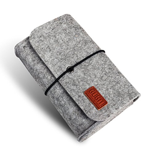 Tinksky Portable Soft Wool Felt Sleeve Bag Storage Bag Pouch Travel Organizer for MacBook Laptop Wireless Mouse Power Adapter