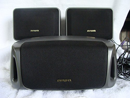 (Aiwa Black Net SX-R210 Surround Speaker System 2 Bookshelf Surround Speakers)