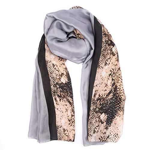 BeCann Silk Scarf Women's Long Satin Lightweight Scarf Large Sunscreen Shawls Wraps (Gray Snakeskin Print)