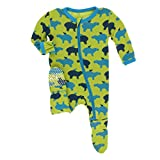 Kickee Pants Little Boys Print Footie with Zipper - Meadow Capybara, Newborn