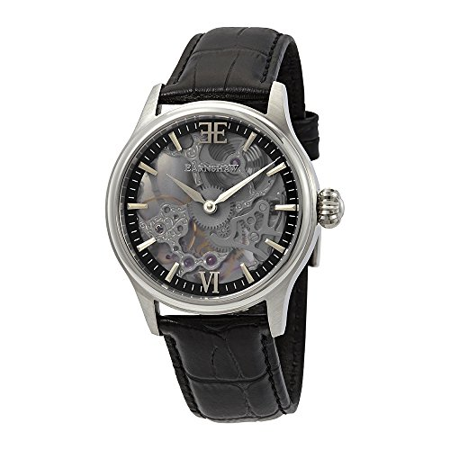 Thomas Earnshaw Men's 'BAUER' Mechanical Hand Wind Stainless Steel and Leather Casual Watch, Color:Black (Model: ES-8061-01)
