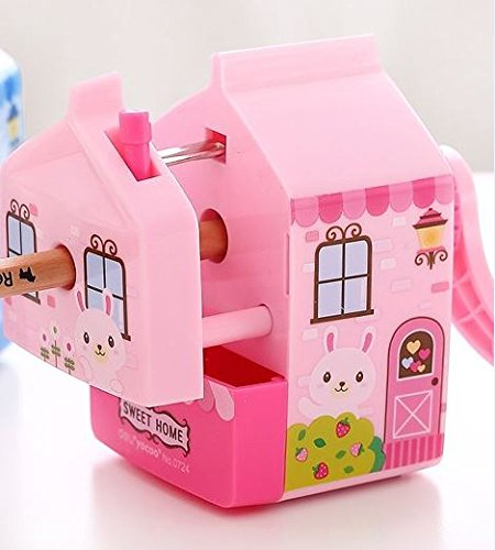 InnoDesktop Super Cute Cartoon Manual Rotary Pencil Sharpener, Best Pencil Sharpener for Kids and School, Little Cozy House Design (Model 1900 Electric Pencil Sharpener)