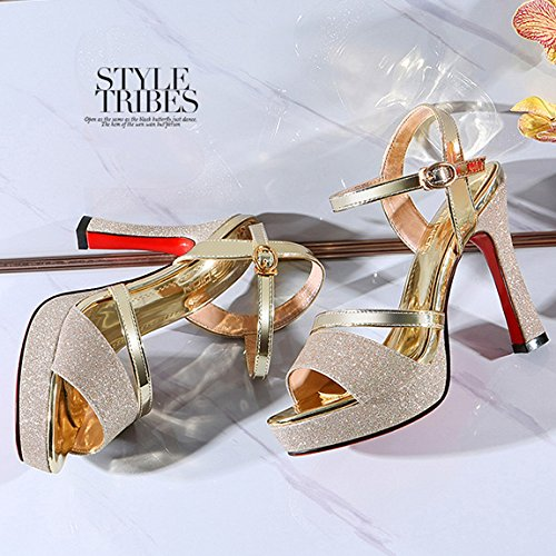 Gold Fashion For Court Sandals Dress Pumps High Summer Shoes Daily With Heels Platform Ladies Party HgH6rxqA