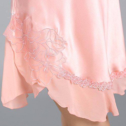 Da Notte Camicia Seta Arruffato Ms Pigiama Rosa 100 Cinturino Tentazione Sexy PIAOL Seta Summer gxPqvtxw7