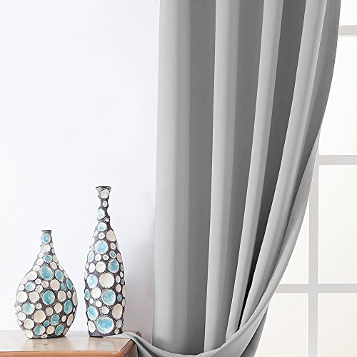 Moderate Blackout Curtains for Bedroom 95 inches Long Light Reducing Window Curtain Panels for Living Room Triple Weave Room Darkening Drapes, Grommet Top, 2 Panels, Grey