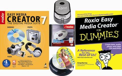 Roxio Easy Media Creator 7 Bundle [Dummies Book, USB Mini Drive, DVD+R - Labeling Bundle