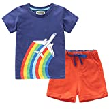 Fiream Boys Cotton Summer Sets Shortsleeve Space Pattern t-Shirts and Shorts 2 pcs Clothing Sets(18021,3T/3-4YRS)